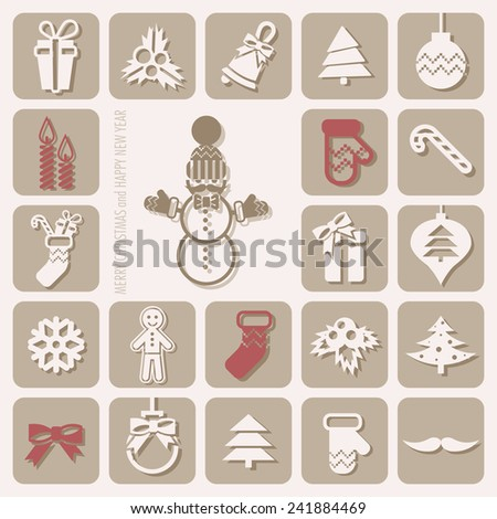 Merry Christmas and Happy New Year Icons Set