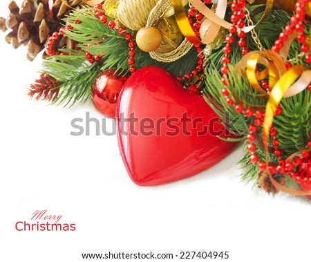 Merry Christmas and Happy New Year. Still life with decorations,new year tree and snow isolated on white with sample text - stock photo