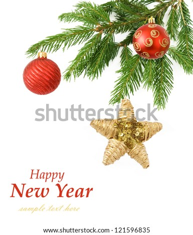 Merry Christmas and happy New Year (with sample text) - stock photo