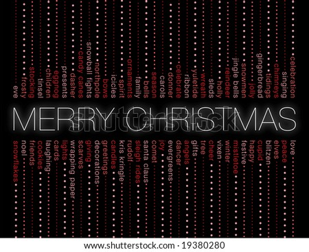 merry christmas and other holiday words on a black background - stock photo