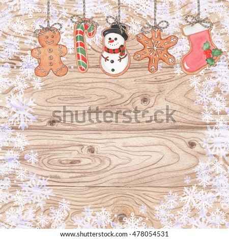 Merry Christmas background with gingerbread 2. Watercolor illustration, hand-drawing. To design cards, invitations, banners.