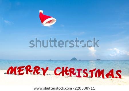 Merry Christmas beach theme. - stock photo