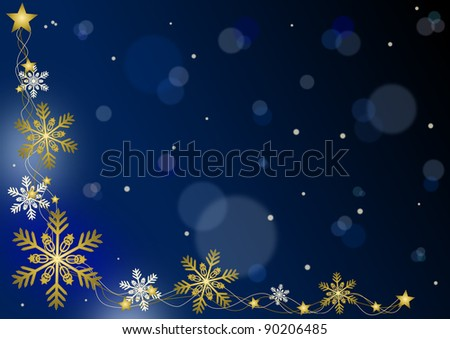 Merry Christmas - blue background with snowflakes - stock photo
