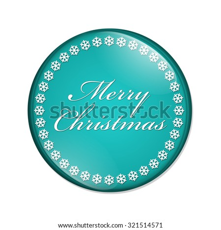 Merry Christmas Button, A teal button with snowflakes with words Merry Christmas isolated on a white background - stock photo
