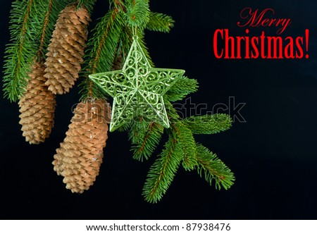 merry christmas! card concept. fir tree branch with shiny star decoration over black - stock photo
