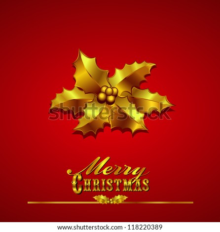 Merry Christmas Card Gold Holly on a Red Background with hand drawn typefaces - Raster version - stock photo