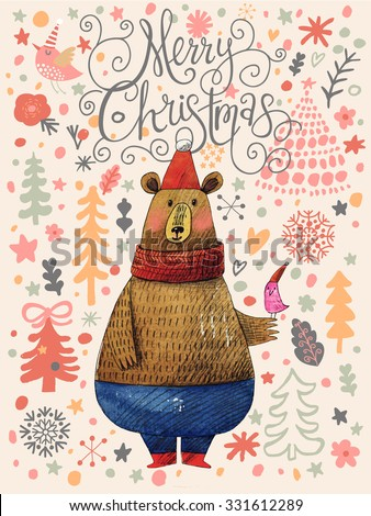 Merry Christmas card in cartoon style. Beautiful holiday background with Santa bear on Christmas background made of snowflakes and fir trees in stylish colors