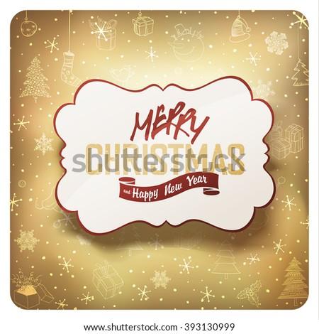 Merry Christmas Card. Raster version. - stock photo