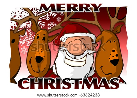 Merry Christmas Card (red) - stock photo