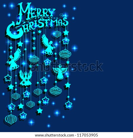 Merry Christmas  card with Angels, paper cut or origami style - stock photo