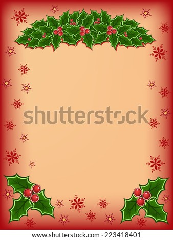 Merry christmas card with red and green holly illustration