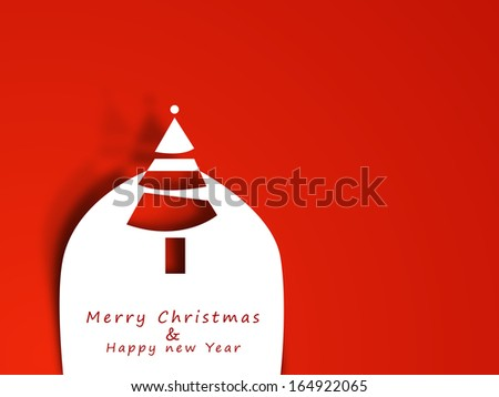 Merry Christmas celebration greeting card or invitation card with stylish Xmas tree on bright red background.