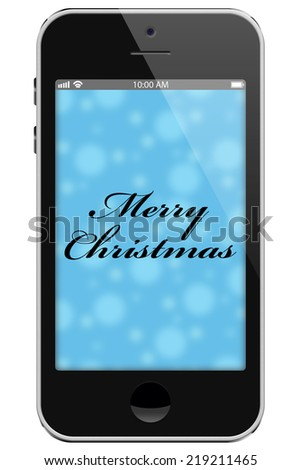 Merry Christmas, Cell Phone with text Thank You isolated on a white background - stock photo