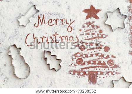 Merry Christmas - Christmas tree of the flour (homemade baking) - stock photo