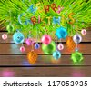 Merry Christmas  color card with toys and firtree - stock photo