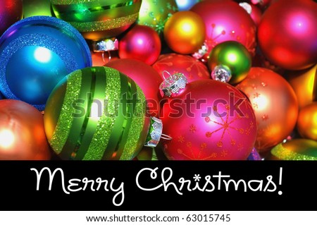 Merry Christmas concept. Pretty colorful Christmas Ornaments. - stock photo