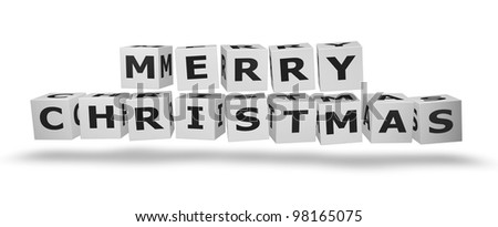 Merry Christmas Cubes in 3D white cubes