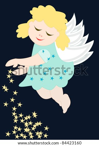 Merry Christmas - Cute little angel with stars - stock photo