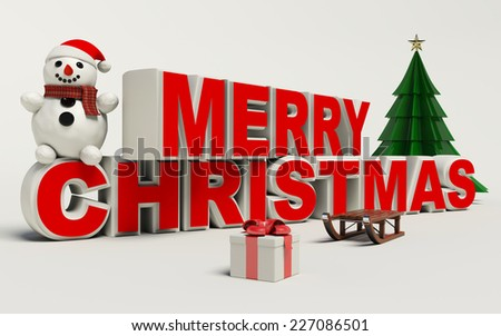 Merry Christmas 3d text, snowman,slage,and gift high resolution - stock photo