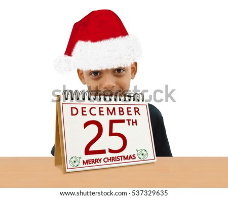 Merry Christmas December 25th Calendar Handsome Boy wearing Santa Hat