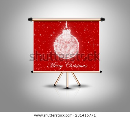 merry christmas, decoration ball on isolated banner. grey banner - stock photo