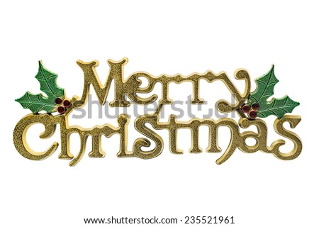 Merry Christmas Decoration isolated on white. Clipping Path Included - stock photo