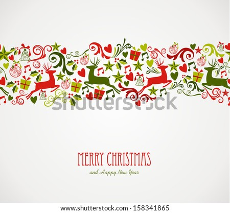 Merry Christmas decorations elements seamless pattern border.  - stock photo