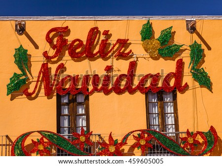 Merry Christmas Decorations Parroquia Cathedral Dolores Hidalgo Mexico. - stock photo