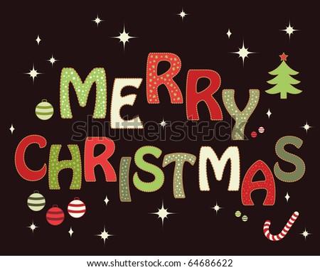 Merry Christmas design (raster version) - stock photo