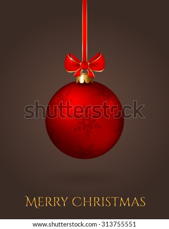 Merry Christmas! Elegant greeting card with red christmas ball on a dark background. Raster illustration.