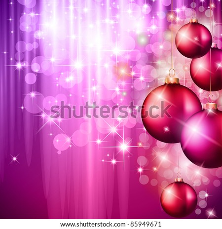 Merry Christmas Elegant Suggestive Background for Greetings Card with glitter lights and stunning baubles.
