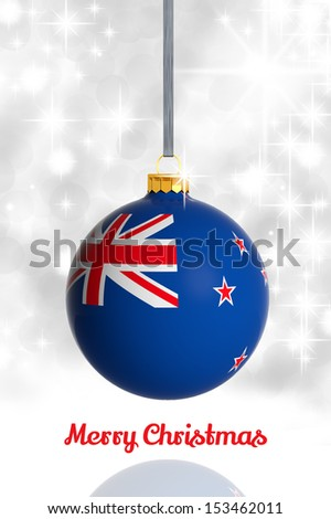 Merry Christmas from New Zealand. Christmas ball with flag - stock photo