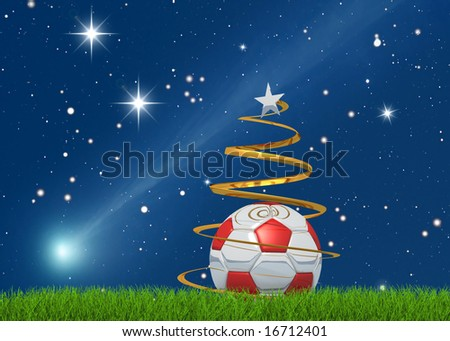 Merry christmas from the world of the soccer on starry background - stock photo