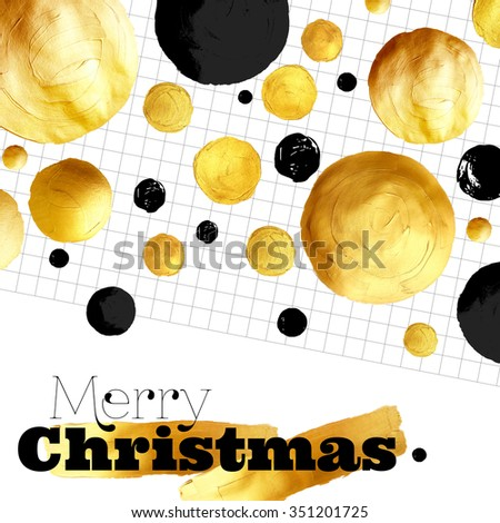 Merry Christmas - gold and black lettering design with polka dot pattern. Hand painted illustration. - stock photo