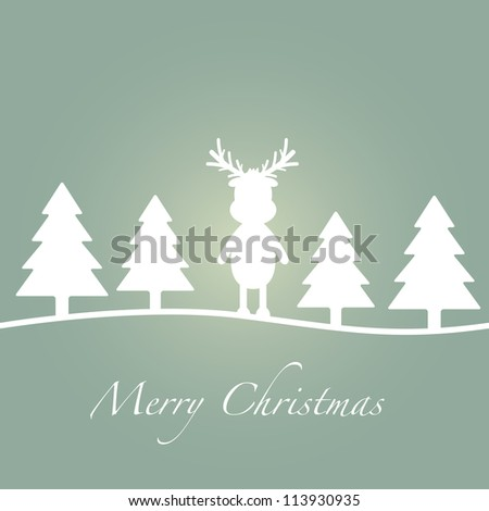 merry christmas green tree reindeer silhouette card - stock photo