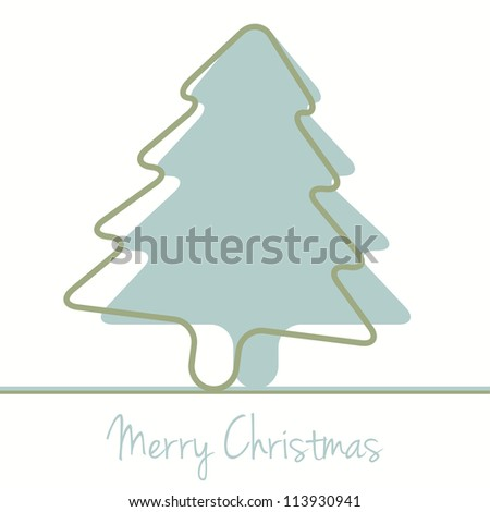 merry christmas green tree silhouette card background - stock photo