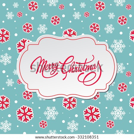 Merry Christmas greeting card.   - stock photo