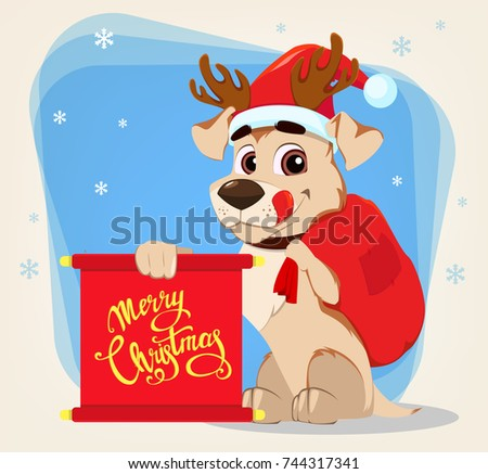 Merry christmas greeting card funny dog stock illustration 744317341 merry christmas greeting card funny dog wearing santa claus hat and deer antlers and holding m4hsunfo