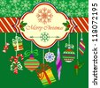 Merry Christmas Greeting Card with Christmas Objects on Green Background, Raster Illustration - stock photo