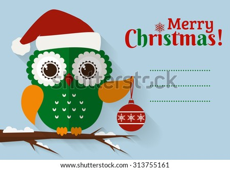 Merry Christmas! Greeting card with place for text. Cute owl with Christmas ball and Santa hat. Flat design with long shadow. Raster illustration. - stock photo