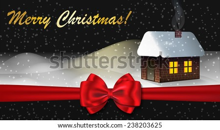 Merry Christmas greeting card with Winter landscape. Vector illustration - stock photo
