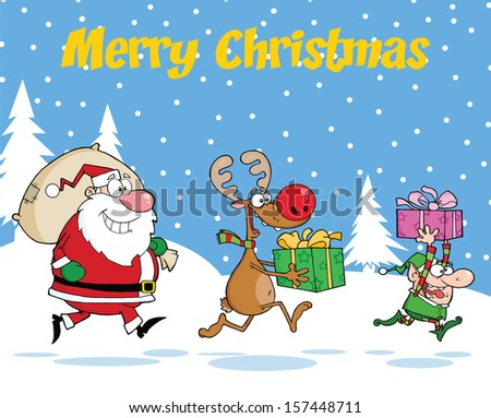 Merry Christmas Greeting With Reindeer, Elf  And Santa Claus Carrying Christmas Presents. Raster Illustration - stock photo