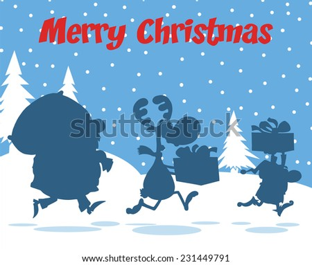 Merry Christmas Greeting With Santa Claus,Reindeer And Elf Silhouettes. Raster Illustration  - stock photo
