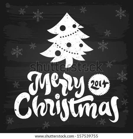 Merry Christmas greetings chalkboard. Raster version. - stock photo