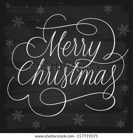 Merry Christmas greetings slogan on chalkboard. Raster version. - stock photo