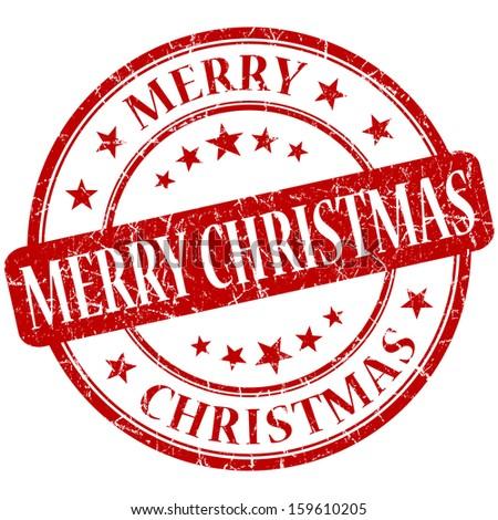 merry christmas grunge round red stamp - stock photo