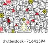 merry Christmas - hand drawn cartoon greeting card - stock vector