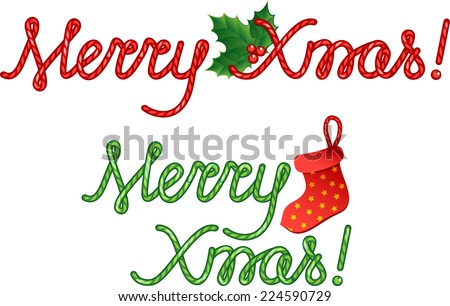 Merry Christmas. Handmade font. Isolated on white. Raster Version. - stock photo