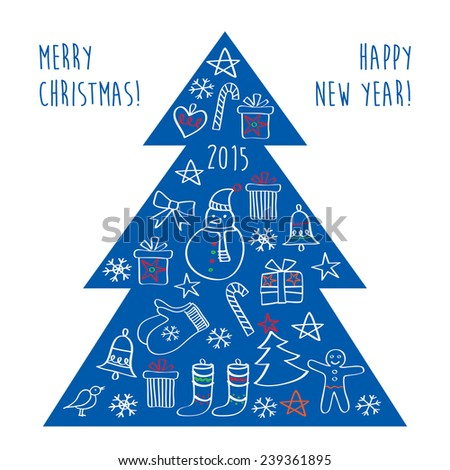 Merry Christmas. Happy New Year. Congratulations. Christmas blue tree with gifts and Christmas decorations. Hand drawing. Doodles, sketch, design elements. - stock photo