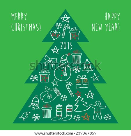 Merry Christmas. Happy New Year. Congratulations. Christmas green tree with gifts and Christmas decorations. Hand drawing. Doodles, sketch, design elements. - stock photo